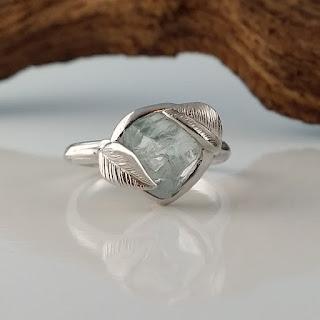 Raw Uncut Aquamarine Leaf Ring Solid 14k White Gold, Ring, jewelry, Aquamarine Wedding Engagement Rough Gemstone Ring Statement Ring Stacking Ring, Dawn Vertrees