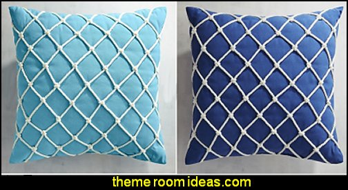 Fishnet Cobalt Pillow  seaside cottage decorating ideas - coastal living living room ideas - beach cottage coastal living style decorating ideas - beach house decor - seashell decor - nautical bedroom furniture