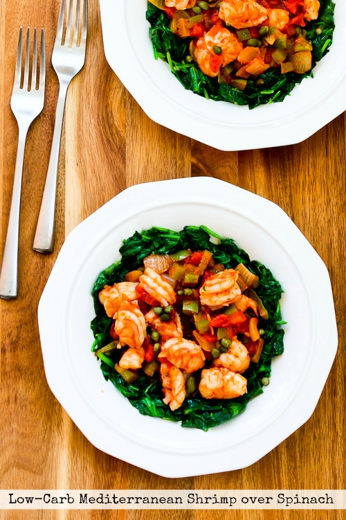 Low- Carb Mediterranean Shrimp over Spinach found on KalynsKitchen.com