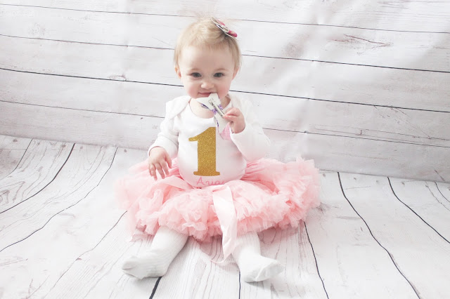 personalised first birthday vest and pink tutu