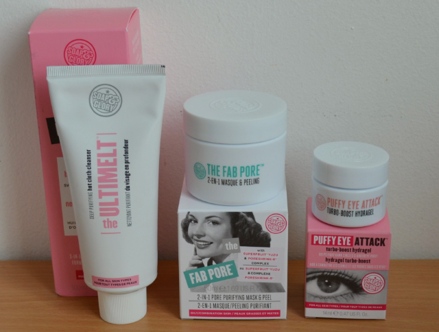 Soap and glory skincare, Soap and glory the ultimelt hot cloth cleanser, Soap and glory the fab pore 2 in 1 purifying mask and peel, Soap and glory puffy eye attack hydrogel
