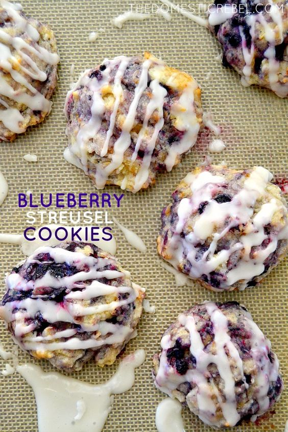 Muffin Mix Blueberry Streusel Cookies #muffin #blueberry #streusel #cookies #cookierecipes #easycookierecipes #blueberrycookies #streuselcookies