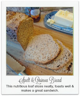 This spelt and quinoa loaf may not be much to look at with its rustic appearance and ragged crust, but what it lacks in the looks department it certainly makes up for in flavour.   Not only does it slice neatly, toast well and make a great sandwich, it is also packed with numerous health benefits too.