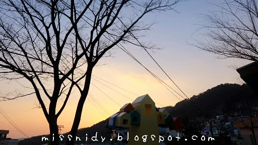 sunset in gamcheon culture village busan