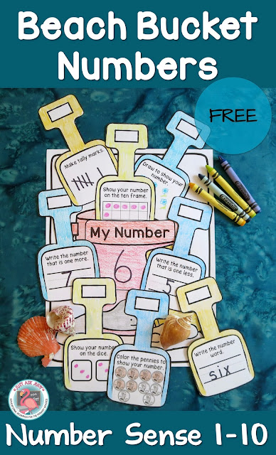 This free, versatile beach bucket and shovel activity can be used to help maintain number sense skills that might otherwise be lost during the summer slump! It is perfect for reviewing and reinforcing number sense skills with kindergarteners during the summer or the beginning of the school year.