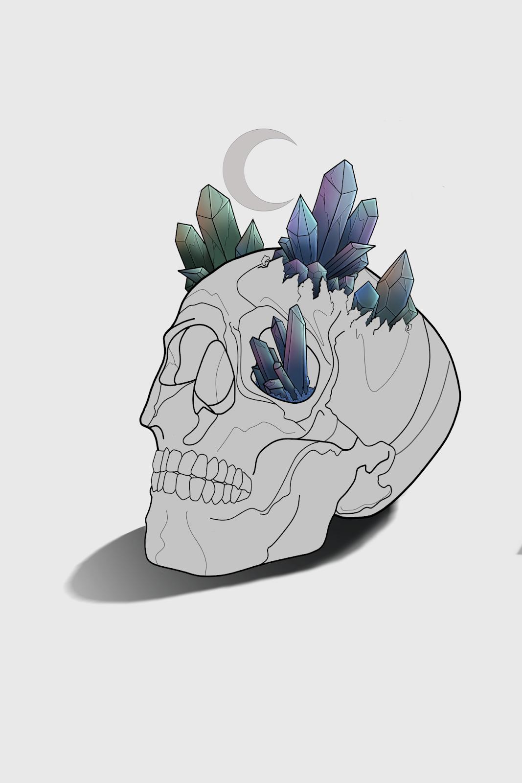 crystal skull art drawing