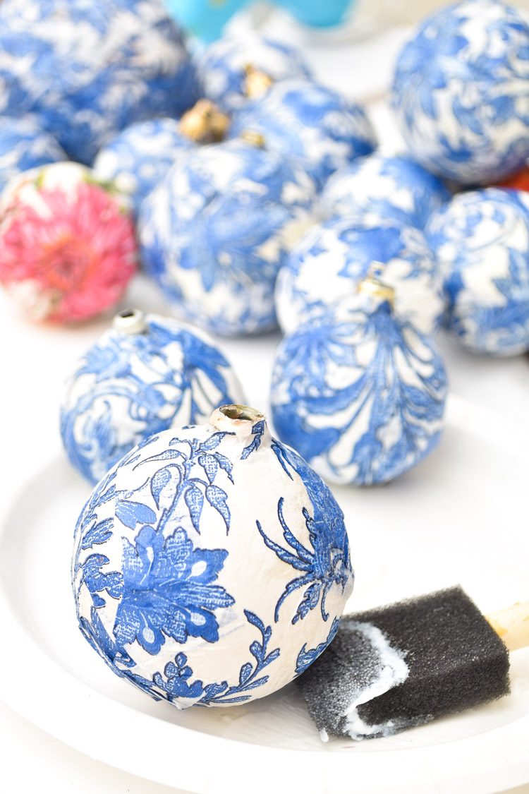 Blue and white mod podge chinoiserie ornament DIY