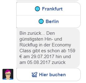 Lufthansa-Chatbot Mildred sucht einen Flug