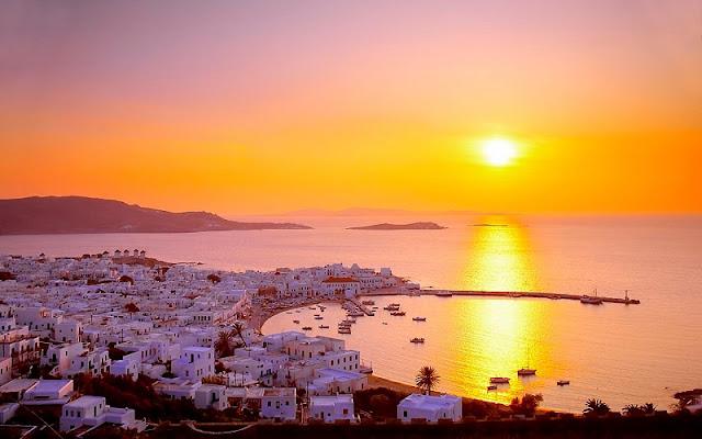 Pôr-do-sol em Mykonos, Grécia
