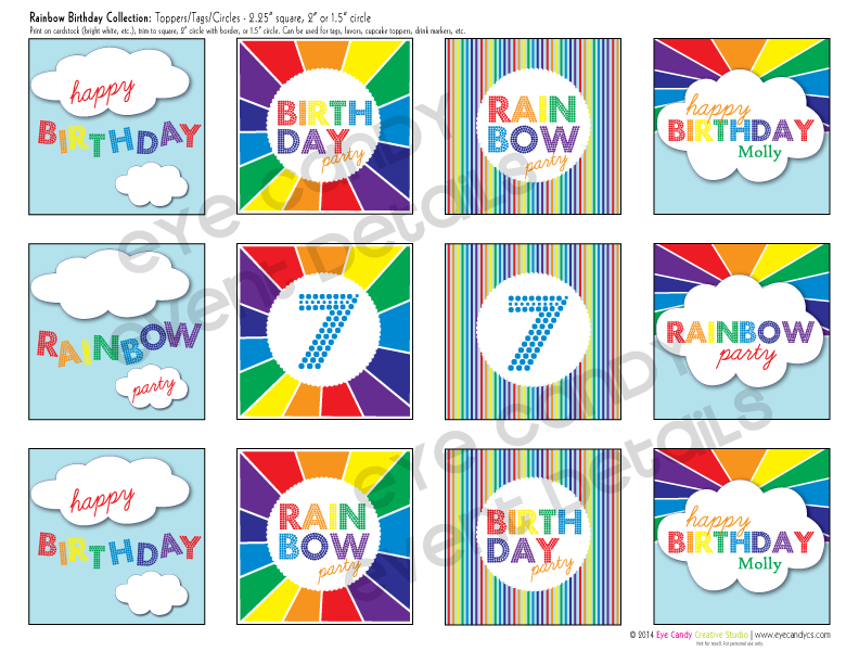 rainbow birthday party, rainbow and clouds, colors of the rainbow