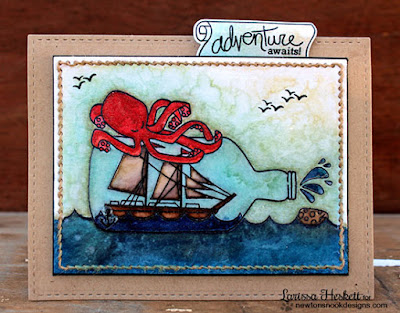 Kraken & ship in a bottle card by Larissa Heskett | Message in a Bottle Stamp set by Newton's Nook Designs