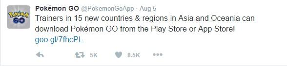 Twit rilis Pokemon Go di 15 negara.
