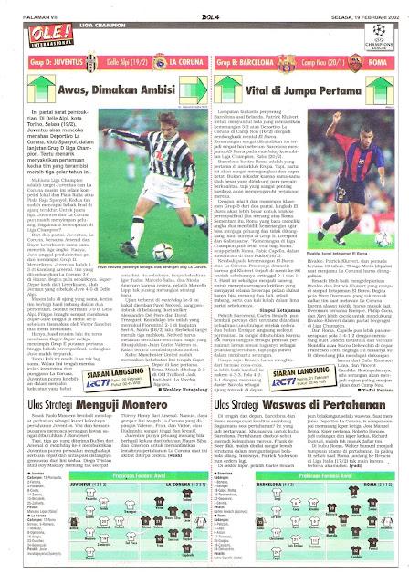 CHAMPIONS LEAGUE 2002 JUVENTUS VS LA CORUNA NEWS