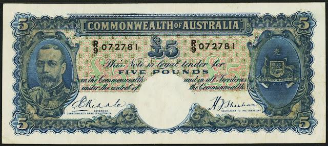 Australia 5 Pounds banknote 1933 King George V