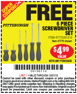 harbor freight, free coupon, screwdriver, led light