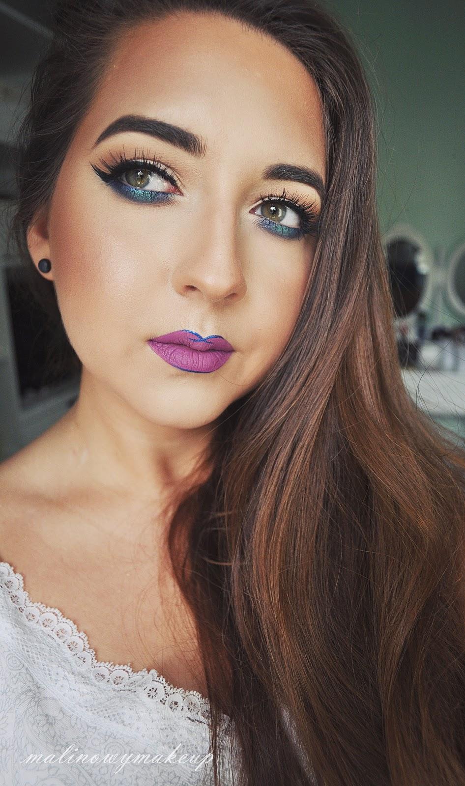 blue makeup niebieski makijaż dolna powieka sztuczne rzęsy