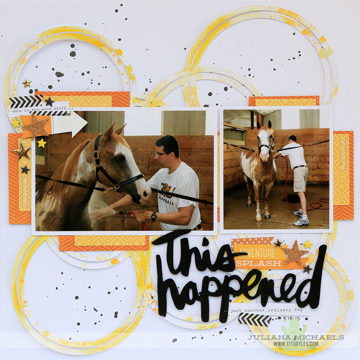 This Happened Horse Scrapbook Page by Juliana Michaels featuring 17turtles Digital Cut File Dancing Circles and created for the Paper Issues Online Crop 17turtles Cut File Challenge