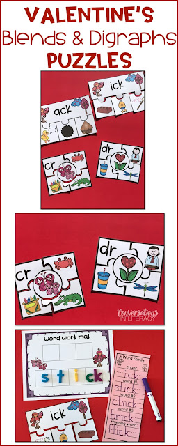 blends and digraphs activity for Valentine's Day