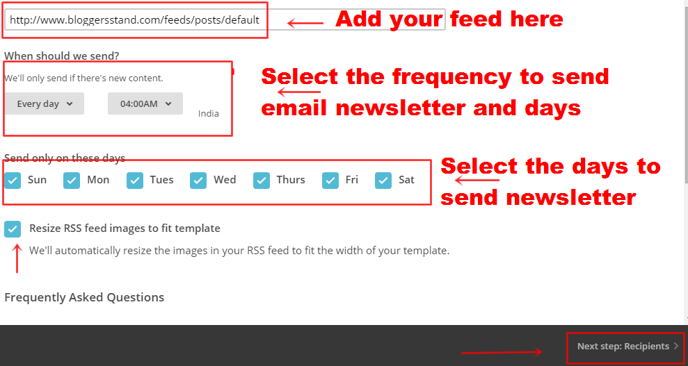How to send rss feed in email from mailchimp alternate to add your feed details in mailchimp pronofoot35fo Image collections