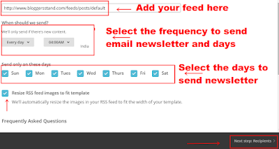 add your feed details in mailchimp