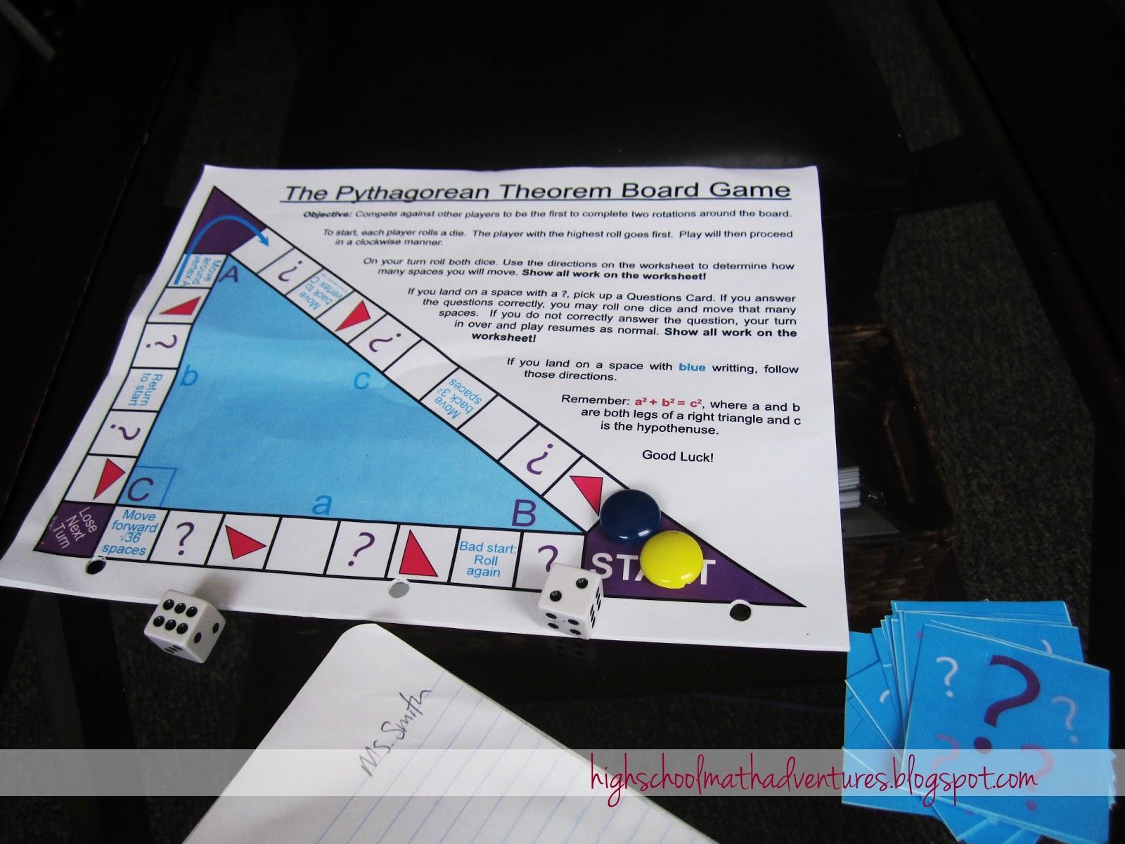 High School Math Adventures With Mrs B Pythagorean Theorem Board Game