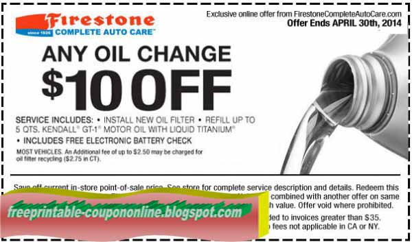 Firestone oil change coupons august 2018