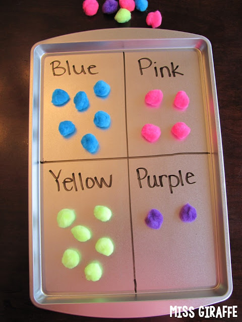 Use a dry erase marker and a magnetic cookie sheet from the dollar store to create easy activities and fun sorts for kids