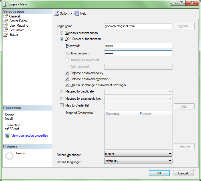 membuat password sql server 2008