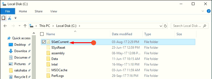 How to Remove $GetCurrent Folder in Windows 10
