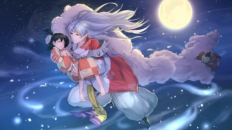 Sesshomaru, Anime, Moon, Night, 4K, #6.2335