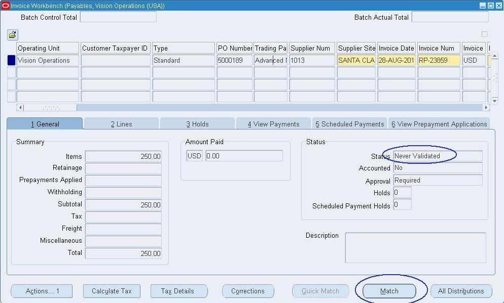 Oracle Applications - Functional Procure to Pay (P2P) Cycle in - what is invoice po number