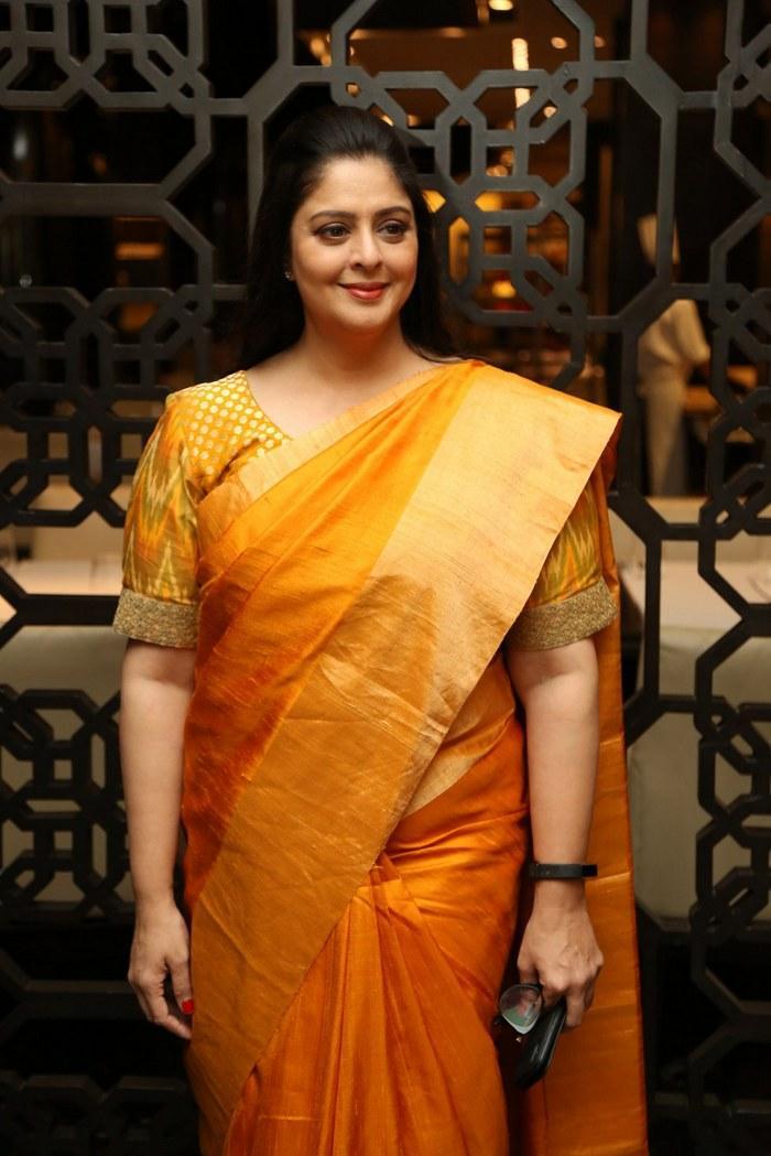 Actress Nagma In Yellow Saree 2019 At TSR TV9 National ...