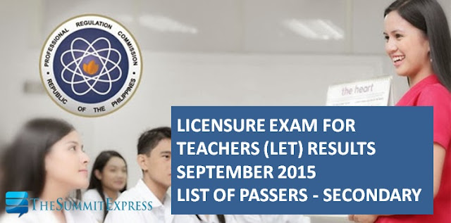 LET Results September 2015 Secondary