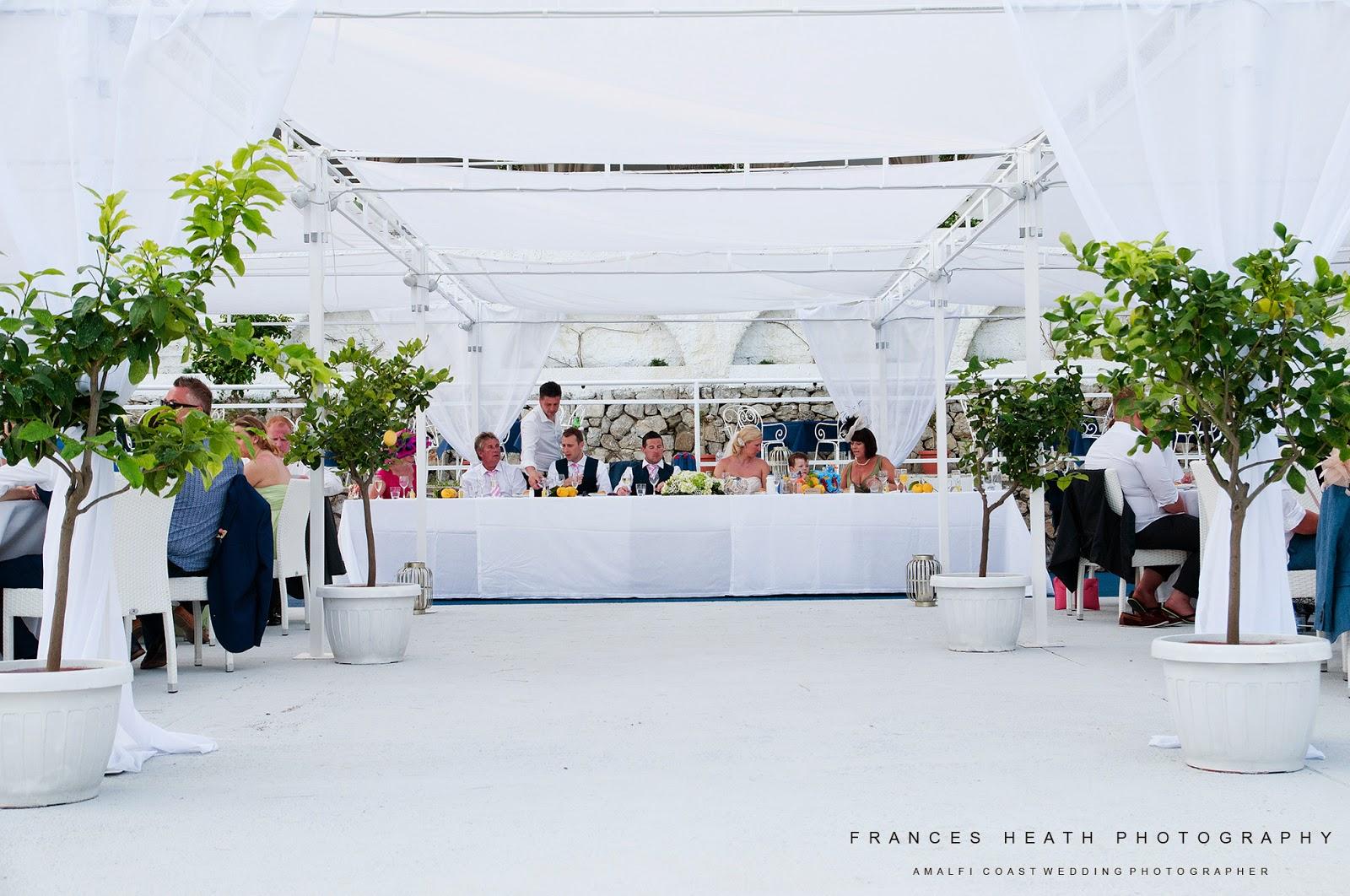 Wedding reception at Sassi Beach Club in Nerano