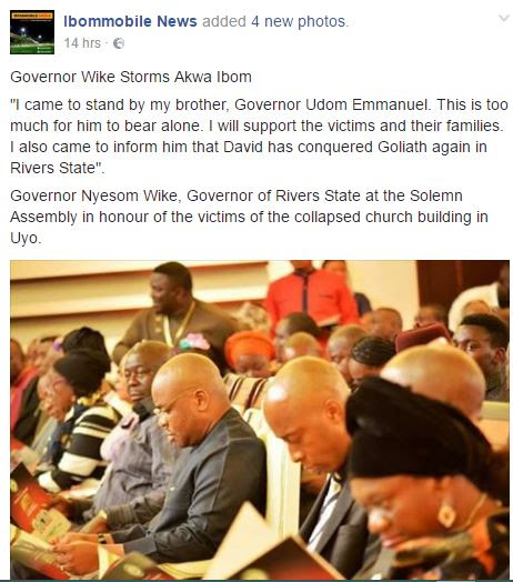 Church Building Collapse: Governor Wike Visits Akwa Ibom.