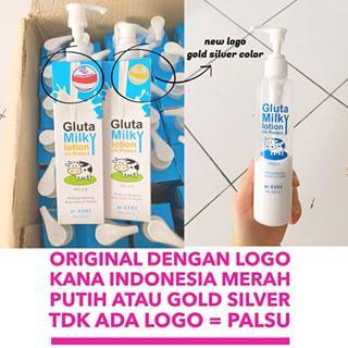 perbedaan gluta milky lotion asli dan palsu