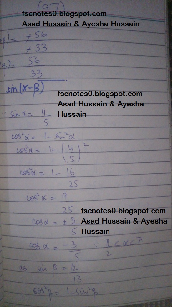 FSc ICS FA Notes Math Part 1 Chapter 10 Trigonometric Identities Exercise 10.2 Question 9 Written by Asad Hussain & Ayesha Hussain 6
