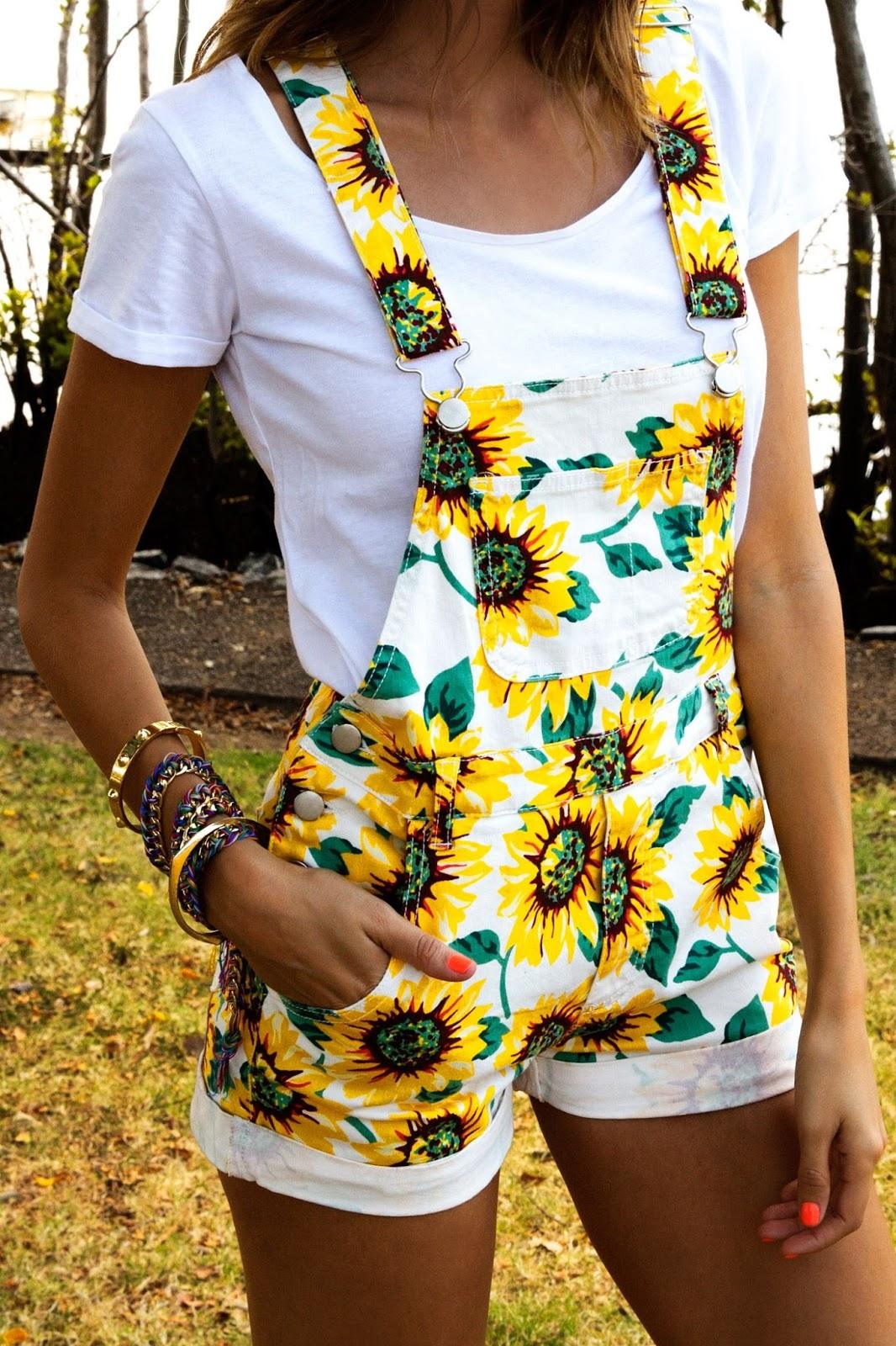 Sunflower Print High-Waisted Pockets Overall