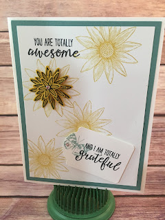 This Lost Lagoon and Hello Honey Thank You card use Stampin' Up!'s Grateful Bunch stamp set, Blossom Bunch Punch, Note Tag Punch, and Rhinestone Basic Jewels!  www.stampwithjennifer.blogspot.com