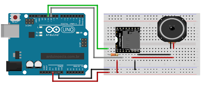 Circuito Arduino e Módulo MP3 DFPlayer Mini