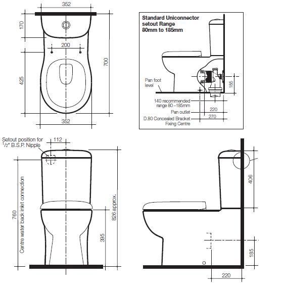 Modecor Toilet Suites Caroma Pearl Wall Faced Toilet Suite