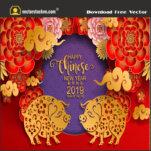 Pig Year 2019 Free_vector tết 2019 free