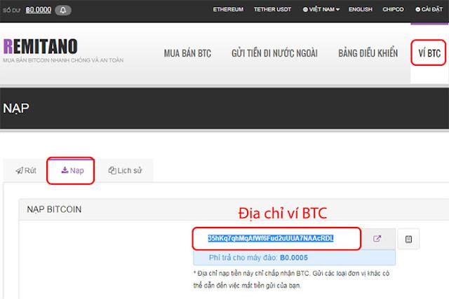 nạp bitcoin vào ví remitano