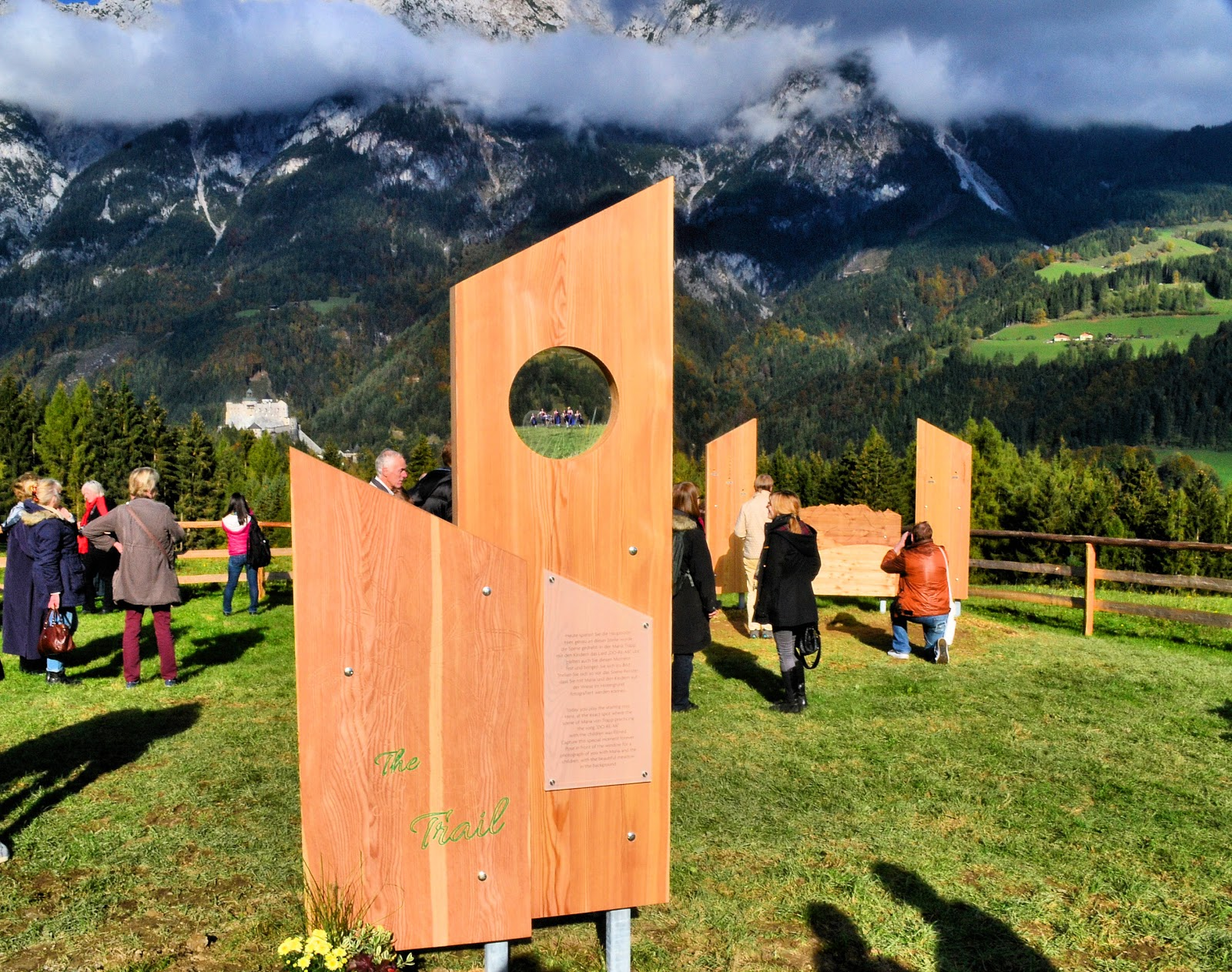 Cleverly designed welcome signs with maps and legends greet you at this final stop on the Sound of Music Trail—Gschwandtanger Meadow.