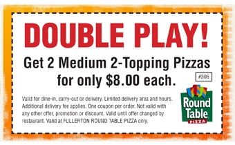 About Round Table Pizza Deals. Round Table Pizza currently has 22 active coupons. On average, our Round Table Pizza coupons save shoppers $ 🔥 Today's top offer: Take 15% Off Your Order At Participating Locations. No deals available for your product? Sign up for deal alerts and get updates whenever a new Round Table Pizza promo code is released.