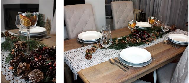 stół świąteczny - suszone pomarańcze
