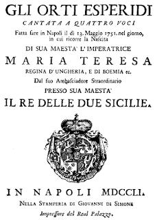 The title page of Metastasio's libretto Glo orti esperidi