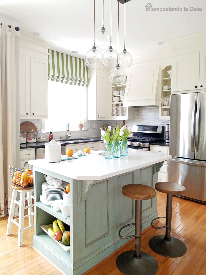 Spring home tour remodelando la casa for Duck egg blue kitchen island