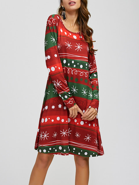 Christmas Snowflake Print A Line Dress