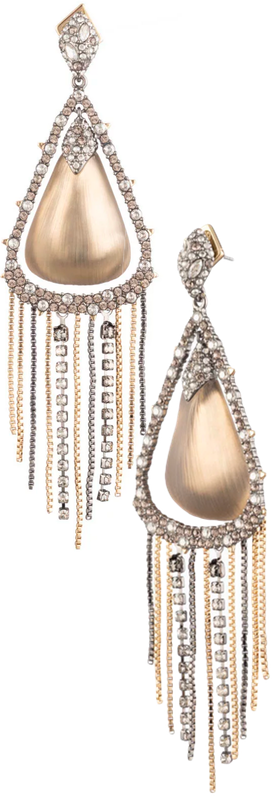 Alexis Bittar Crystal Encrusted Tassel Chain Post Earring